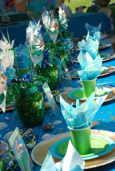 Little Mermaid Birthday Party - I like the jar with windmill for a centerpiece. Let each kid take a windmill home