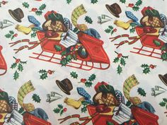 Vintage Christmas Wrapping Paper - Santa's Sleigh Filled with Gifts for Him - Men's Interest - 1 Unused Full Sheet Christmas Gift Wrap