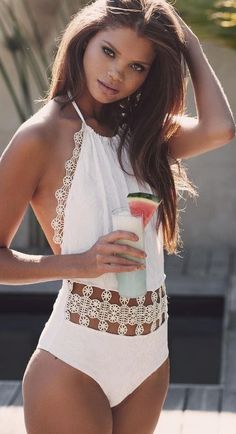 #beachwear ##swimwear #inspiration |  White Halter Monokini