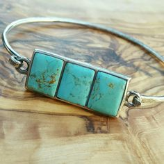 "Vintage Sterling Turquoise Bracelet Timeless piece! Delicate, but a timeless sturdy piece! Marked 925 by closure. Diameter inside is about 2.5"" by 2"" Vintage Jewelry Bracelets"