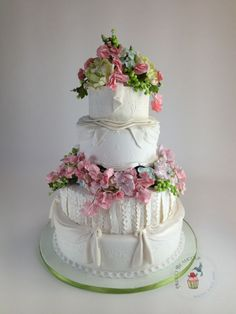 Absolutely Stunning Spring Floral Wedding Cake  ~ all sugar flowers and entirely edible
