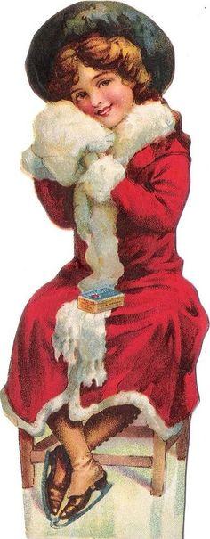 Oblaten Glanzbild scrap die cut Dame  14,2cm lady Winter girl Mantel Mädchen Eis  | eBay: