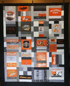 Tshirt quilt for a family friend off to OSU...found every ONE of the tshirts at thrift stores for under $1.50 each!