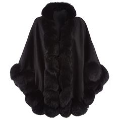 Harrods of London Fox Fur Spiral Trim Cape (14.090 NOK) ❤ liked on Polyvore featuring outerwear, fur trimmed cape coat, fur trimmed cape and cape coat