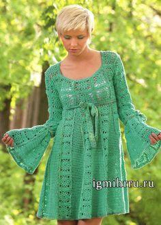 В стиле «Барби». Бирюзовое платье из мотивов. Вязание крючком