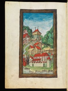 This illumination shows us a medieval view of the swiss city of Lucerne. #manuscript #medieval #architectural #parchment #illumination #illuminated