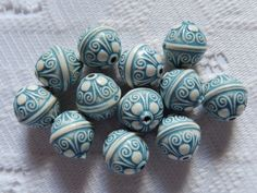 12  China Blue & Cream Ornate Etched Acrylic Beads by BoomersBeads