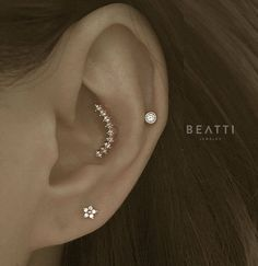 Curved Bar Nine Studs Piercing Conch earring Conch Piercing