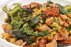 Kamut with Andouille Chicken and Turkey Sausage, Sun-Dried Tomatoes, and Kale
