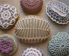 Crochet covered stones.