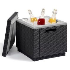 Ice Cooler Bucket Box Rattan Outdoor Garden Furniture Graphite Party Drinks New