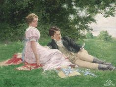 """""""Tête à Tête. A youth with his sweetheart reading in a summer park. Hermann Seeger (German, Oil on wood. Seeger painted young men and women engaged in forms of recreation, often. Romantic Paintings, Classic Paintings, Victorian Paintings, Victorian Art, Louis Aragon, A4 Poster, Classical Art, Parcs, Couple Art"""