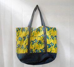 Vintage  Van Gogh painted blue Iris Tote Bag by houuseofwren