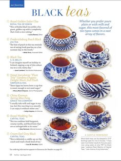 Types of tea | I would do anything to drink a cup of black tea right now, but if I do it, I will be awake all night... =~