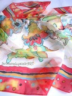 Silk head scarf Christmas gift Painted silk scarf Red Silk art #batik #art #painting #gifts #woman #pink #christmas #silk #scarf #wrap #painted