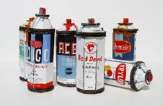 These life size spray can sculptures by Los Angeles based artist Bill Barminski, are lovingly crafted from old cardboard with a glue gun and decorated with slightly fictionalised vintage labels. (they also contain a hi-tech plastic widget so they rattle when shaken).