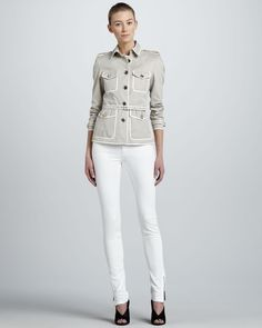 Burberry London Contrast-Trim Short Trenchcoat & Skinny Ankle-Zip White Jeans - Neiman Marcus