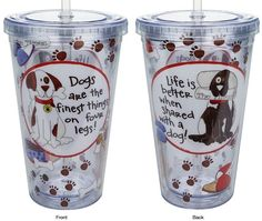 Life With A Dog - Insulated Travel Cup - Cypress Home - Dog Lover Cup - Monkey's #CypressHome