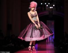 Pink hair and matching dress - all the rage for Hunger Games capitol citizens