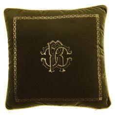 Discover the Roberto Cavalli Venezia Cushion - Olive Green - 40x40cm at Amara