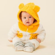 2014 Autumn and Winter Children's Clothing, boys and girls Cartoon Winnie Coral Velvet Outerwear with hoodies for baby & kids $16.69