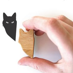 Wooden Handled Peeping Tom Cat Stamp 2 by jolyonyates on Etsy