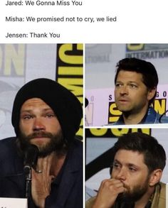 Jared Padalecki, Jensen Ackles, and Misha Collins' final goodbye to SDCC Castiel, Supernatural Fans, Supernatural Funny Quotes, Spn Memes, Supernatural Tattoo, Supernatural Wallpaper, Funny Memes, Jensen Ackles, Jensen And Misha