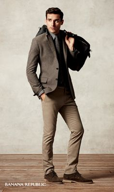 """""""Pair a slim brown tweed blazer and a charcoal wool herringbone tie for a look that's prepped and ready."""""""