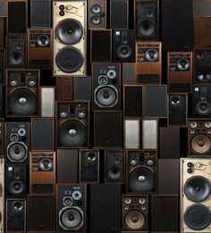 Audio Wall Panel A wallpaper panel with a retro feel featuring stacks of vintage audio speakers.