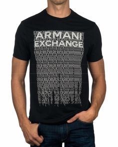 Armani Exchange T Shirt - Black with letters Camiseta Armani Exchange, T Shart, Design Kaos, Polo T Shirts, Online Shopping Clothes, Emporio Armani, Creative Design, Korean Fashion, Monkey