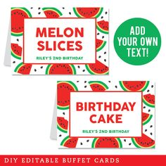 Paper goods and DIY printables for parties and holidays Watermelon Slices, Birthday Diy, Paper Goods, Sweet 16, Buffet, Crushes, Mini, Party, Red