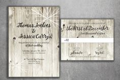 Winter Country Wedding Invitations Set Printed, Rustic Winter Invitation, Snowflake Wedding Invitation, Wood, Outside, Southern, Barn, White by Level33Graphics on Etsy