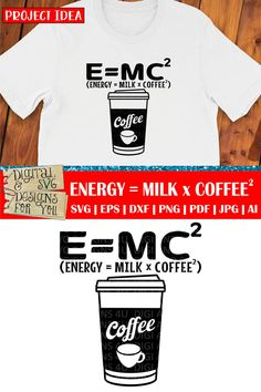 Energy equals milk times coffee cuttable SVG quote. Compatible with cutting machines like Silhouette, Cricut, SCAL etc. as well as vinyl cutters and laser cutters. Ideas for using our designs: • Vinyl decals for mugs, acrylic blanks, tumblers, glasses, walls, cars etc. • HTV decals for T-shirts, pillows, tote bags, garden flags, towels, etc. • Vinyl stencils for wood signs, canvas art, etc. • Cutouts for card making, paper crafts, scrapbooking etc. Einstein, Stencils For Wood Signs, E Mc2, Halloween Quotes, Cutting Tables, How To Make Tshirts, Vinyl Cutter, Mirror Image, Design Bundles