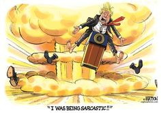 RJ Matson - CagleCartoons.com - Imagining President Trump-COLOR - English - Imagining President Trump, President, Donald, Trump, Sarcasm, Sarcastic, Mushroom, Cloud, World, War, 3, III, Rusia, Email, Hack, Hackers, Election, 2016, Presidential, Campaign