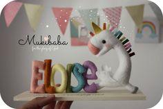 CUSTOM NAME UNICORN princess nursery unicorn rainbow by mukibaba