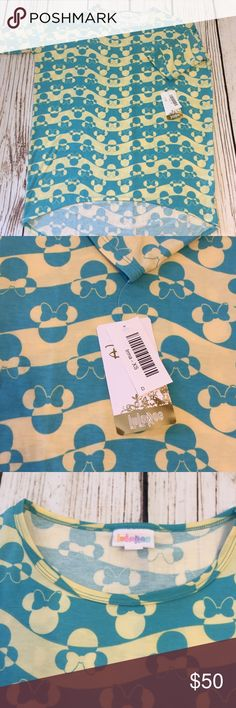 🐭Minnie Mouse XS NWT Irma in pastel yellow/ blue 🇺🇸Single Item is as pictured & no discount on Disney at this time!  🇺🇸See sizing chart for details.  🦄Irma and Carly run LARGE!  🇺🇸No trades.  🇺🇸FIRM on this item no offers accepted unless you bundle two or more items.  ❤️Colors may vary based on lighting such as darker or lighter.  😉Thank you for the likes, shares and kindness! 😘 LuLaRoe Tops Tunics