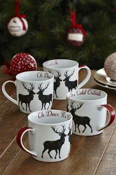 Buy Set Of 4 Oh Dear Mugs from the Next UK online shop  #christmas