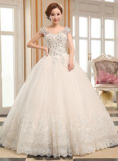 #TBDress - #TBDress Appliques Crystal Ball Gown Lace-Up Wedding Dress - AdoreWe.com
