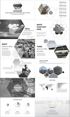 Hexagon presentation-key, pptx, pdf by VectorShop on @creativemarket