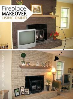 If you have a brick fireplace and would love to change the color but can't afford to rip it out and start over… guess what? You don't have too! Look at what a little paint will do! Though we don't have step by step pics the method used is described in detail. It literally looks like it was rebuilt!