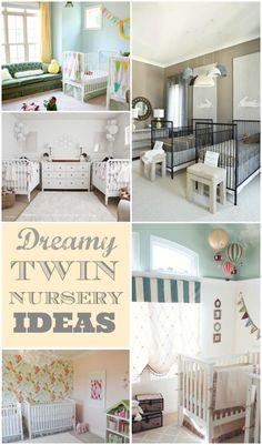 Dreamy Twin Nurseries - lots of beautiful ideas! #twins