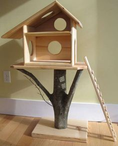 "Pinner stated: ""It said for a doll house. But through some carpet on there and you have an awesome cat tree."" A tree house for a cat:) Fairy Tree Houses, Cat Tree House, Tree Cat, Kitty House, Niche Chat, Outdoor Cats, Indoor Outdoor, Waldorf Toys, Cat Furniture"
