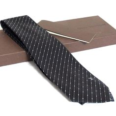 34e748503788 Auth Louis Vuitton Silk Black White Dots Striped Tie Necktie Made Italy in  Box