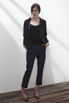 GHOST TOWN SILK SPAGHETTI STRAP TOP IN ANTHRACITE BLACK, LONDON CALLING SILK SHIRT IN BLACK DOTS AND ANTHRACITE BLACK PIPING, BLANK GENERATION 2 CREPE TROUSERS IN BLUE DOTS. www.fallwinterspringsummer.com Fall Winter Spring Summer, Blue Dots, Spaghetti Strap Top, London Calling, Trousers, Silk, Shirts, Collection, Black