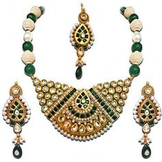 Surat Diamond Jadtar and Pearl Bridal Metal Jewel Set With the Colour Green being the trend of the season, this time we have for you a trendy and exquisite Green Fashion Jewellery Set. This wedding season, stand out with the latest trends and style. Match your Indian attire with this glamorous Fashion Jewellery Set. Wear the look of the royals with long drop earrings and head tikka will surely dazzle those around you. Necklace Length: 13. 5 + CheddiaPendant Dimension: 4. 50 x 3. 50