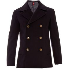 Gucci Double-breasted wool-felt pea coat (16,705 EGP) ❤ liked on Polyvore featuring men's fashion, men's clothing, men's outerwear, men's coats, navy, mens navy blue trench coat, mens outerwear, mens pea coat jacket, mens wool peacoat and mens wool outerwear
