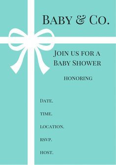 FREE Tiffany U0026 Co. Inspired Baby Shower Invitations   Baby Shower Ideas    Themes