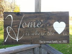 Family est. sign Home is where the heart is by SoulspeakandSawdust