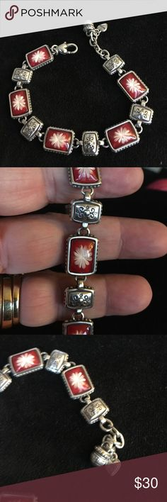 Brighton silver and red flower bracelet Brighton silver and red flower bracelet Brighton Jewelry Bracelets