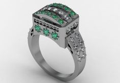14k White Gold Beautiful and Gorgeous Women Ring with by VOLISA, $1350.00